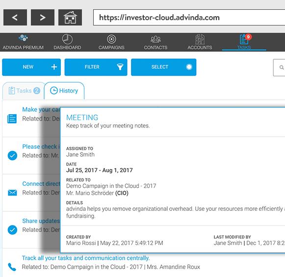 advinda Task and History Page